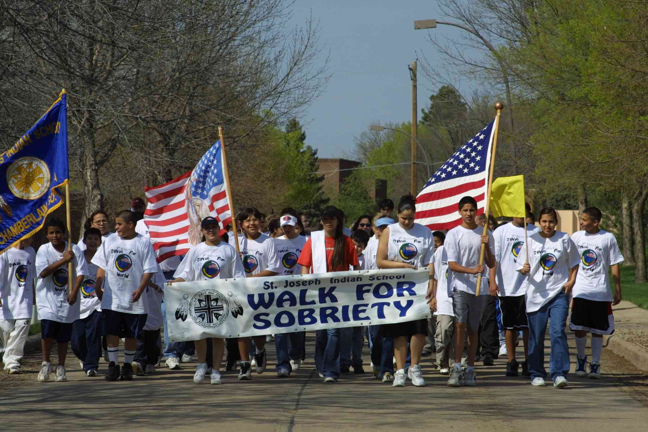 Last year's spring Sobriety Walk at St. Joseph's Indian School.
