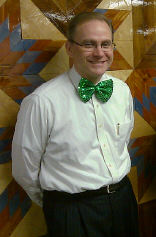 Kory, St. Joseph's Executive Director, sporting a striking, florescent green bow tie!