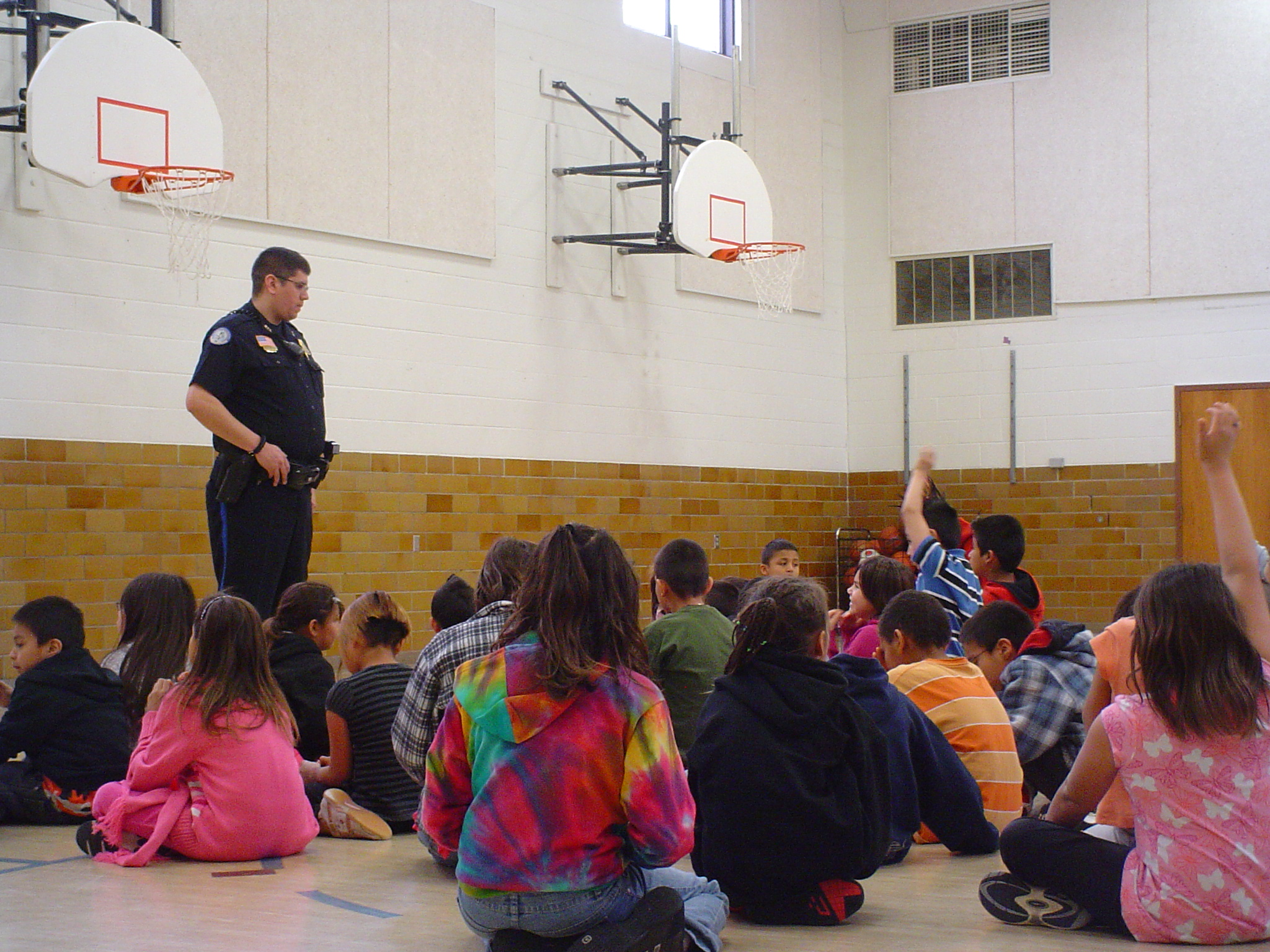 The American Indian youth learned a lot at St. Joseph's Indian School from the police officers on Career Day.