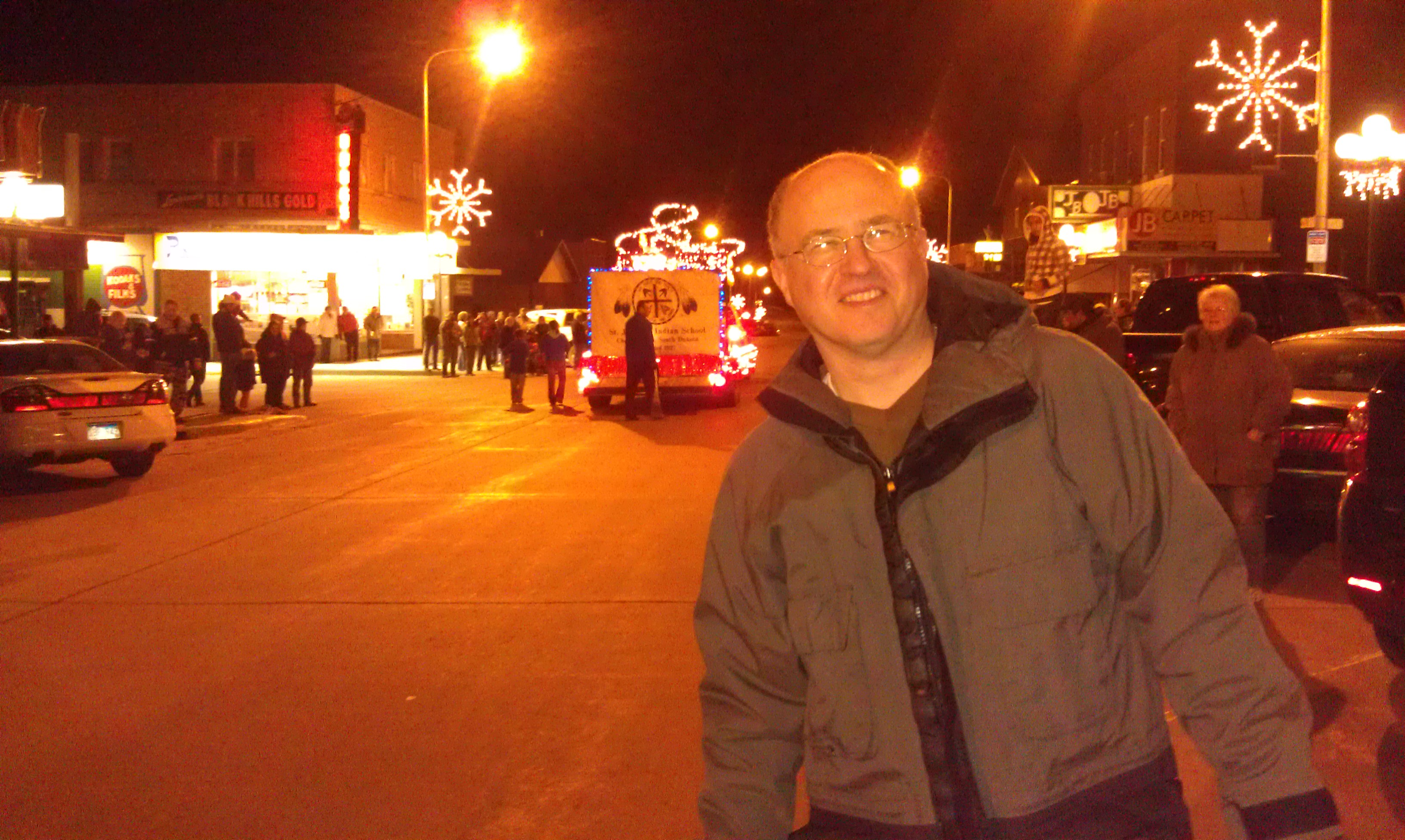 Here I am with the St. Joseph's Indian School float in the background.