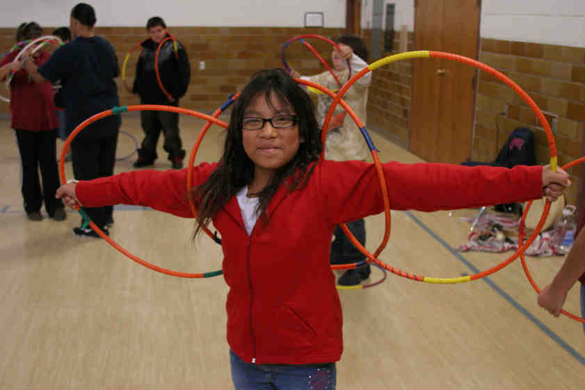The American Indian kids love hoop dancing!