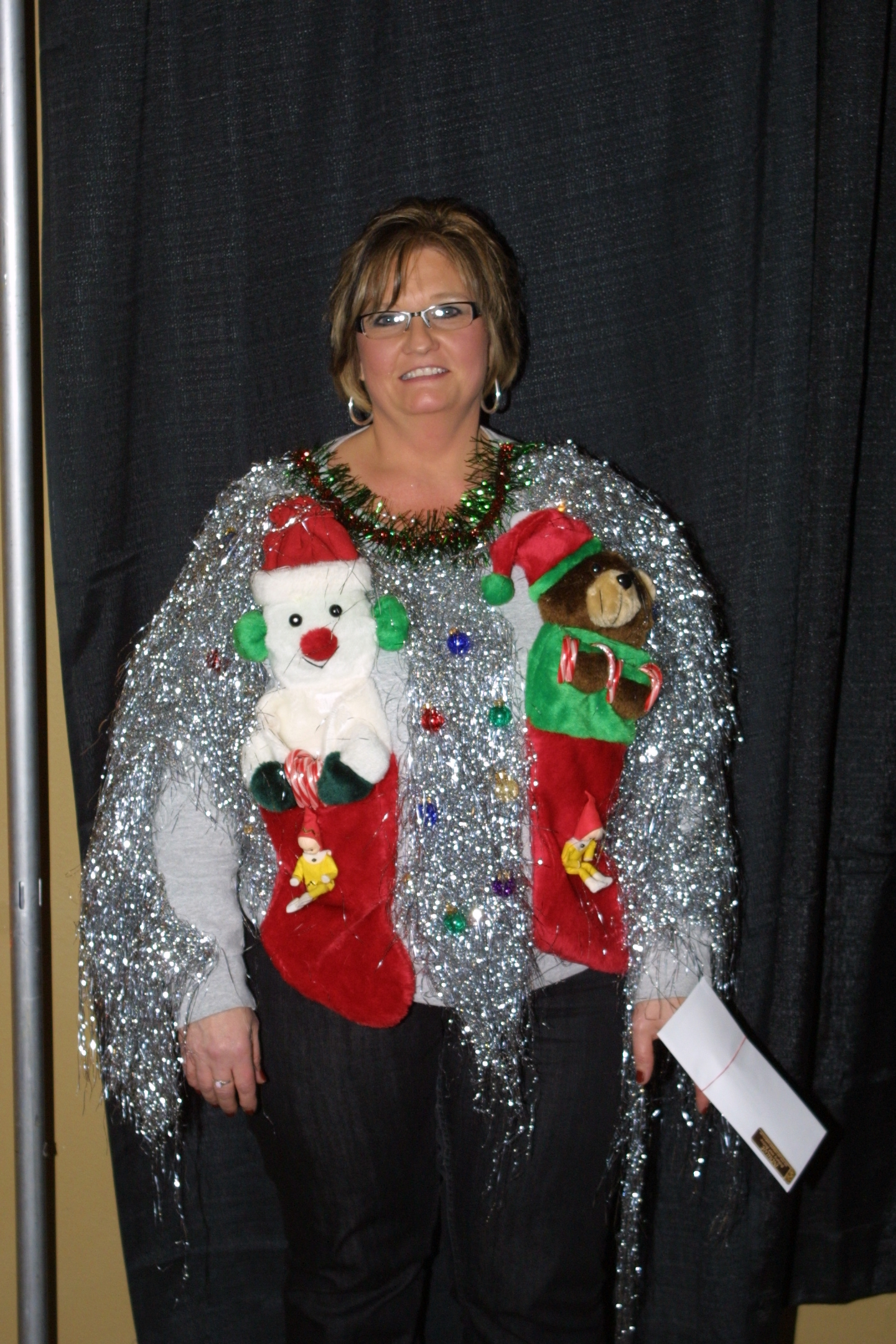 Jodee won the shiniest sweater! She looked great!