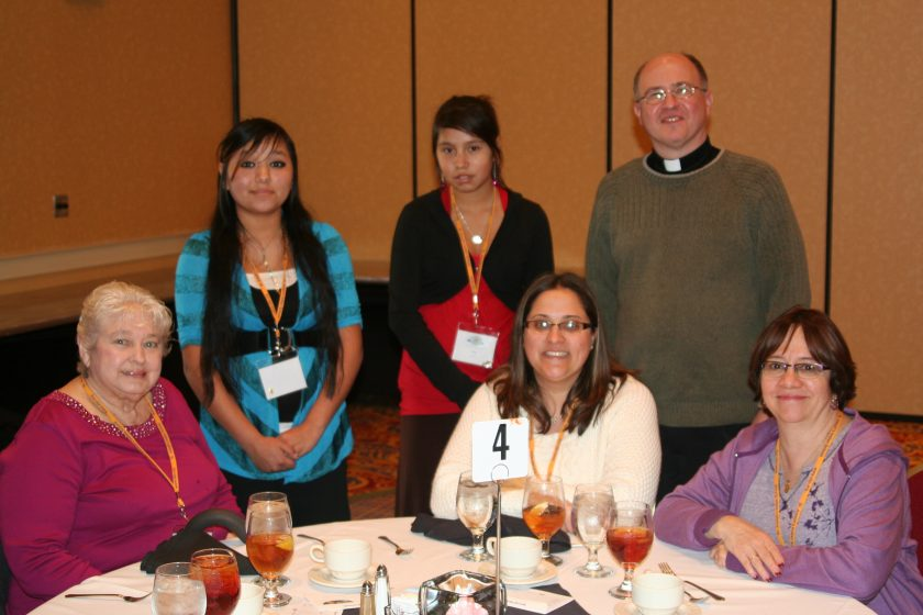 Mia, Zoey, Fr. Steve and friends of St. Joseph's Indian School at the donor luncheon.