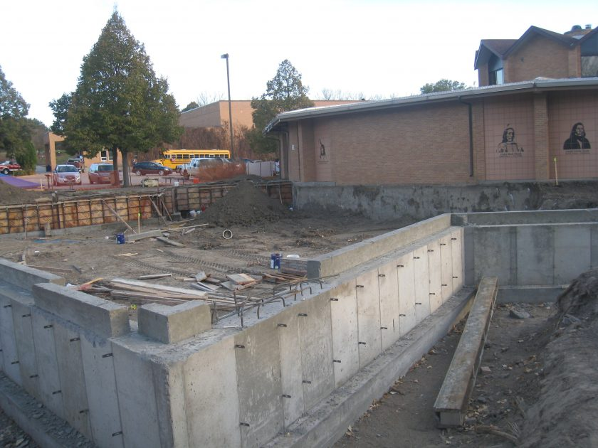 November 2011 – Contractor sets footings on the future Alumni/Historical Center building