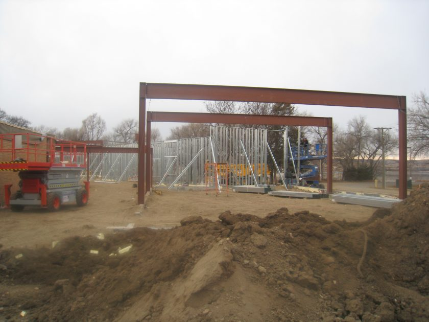 January 2012 – Work on Alumni/Historical Center continues despite winter weather.