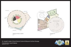 Architect rendering of St. Joseph's Indian School's Historical & Alumni Center – floor plan