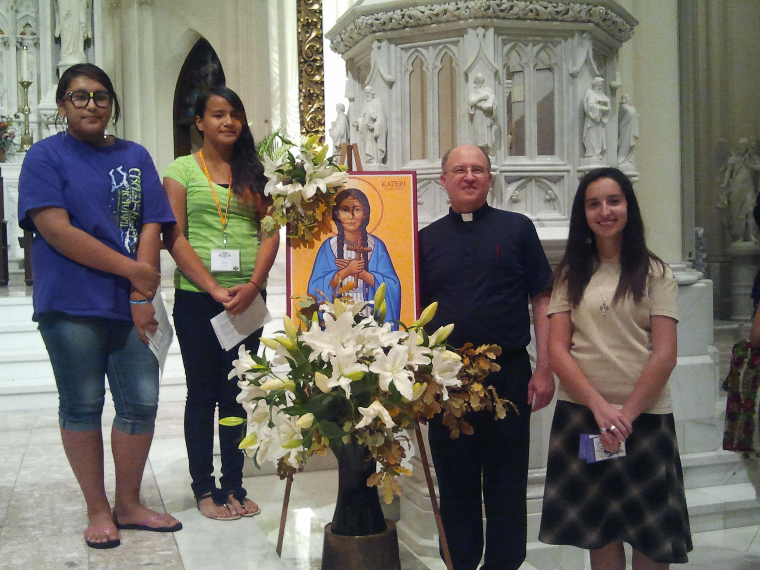 All of us with the beautiful icon honoring Saint Kateri Tekakwitha.