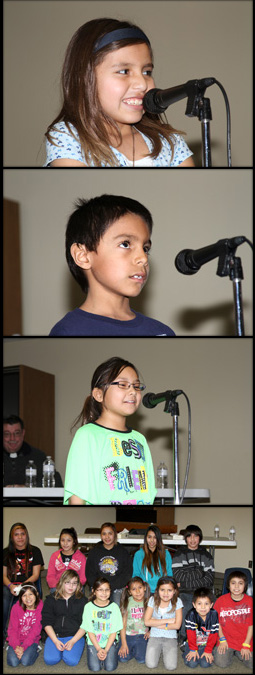 Lakota students at St. Joseph's Indian School participate in the annual spelling bee.