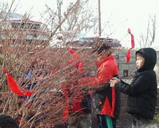 Red prayer ties were put in a tree on campus to symbolize remembrance of the loved ones the Lakota children have lost.