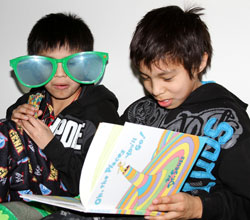 The Lakota students had lots of fun reading to each other.