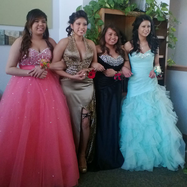 The Lakota girls love dressing up for prom!