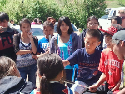 St. Joseph's students met a young Cheyenne drum group on their cultural trip.