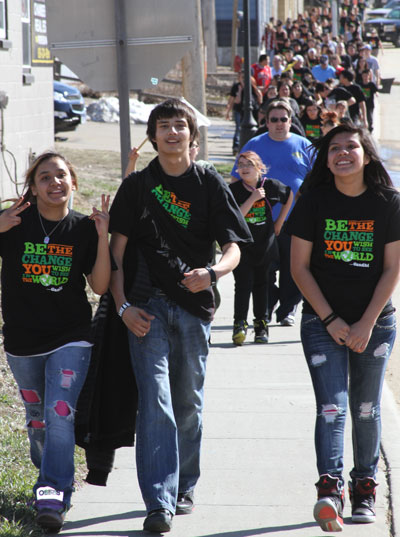 Older Lakota students served as leaders for each of the four walking groups.