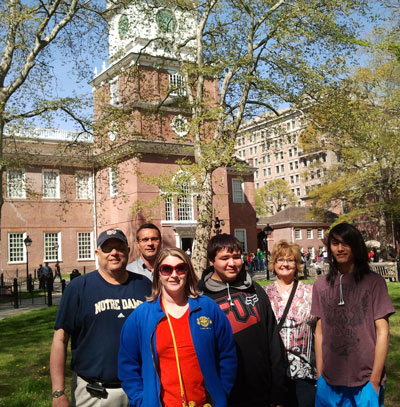 St. Joseph's students and staff at Independence Hall.