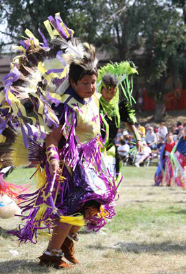 Many of St. Joseph's Lakota students participate in powwow.
