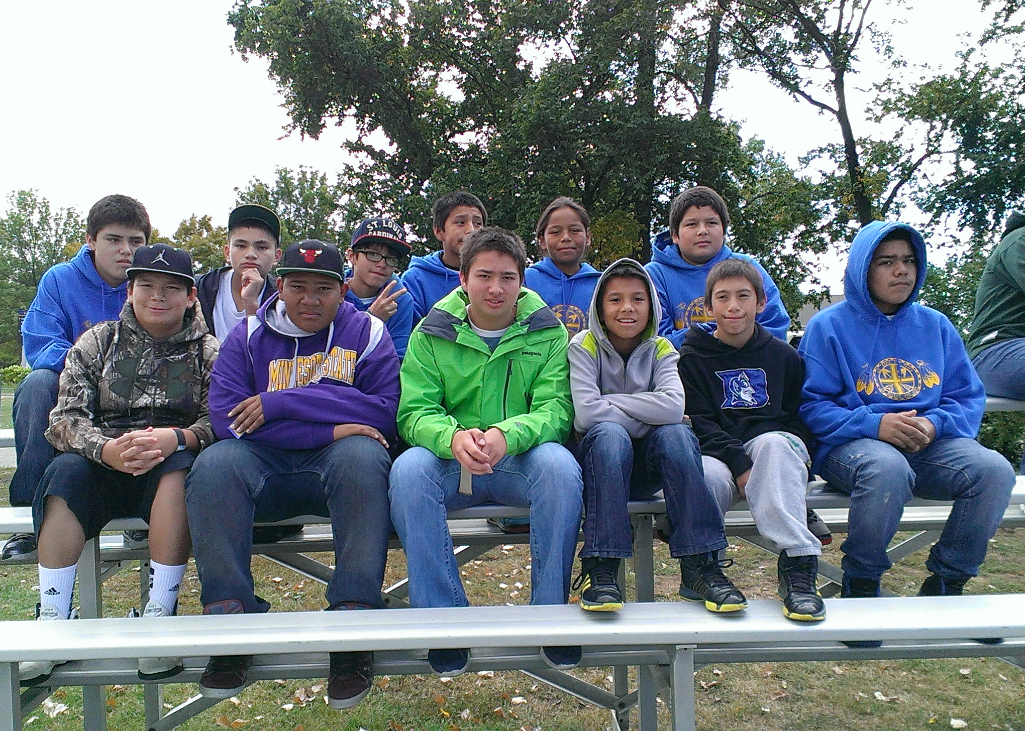The Lakota boys at a South Dakota State football game.