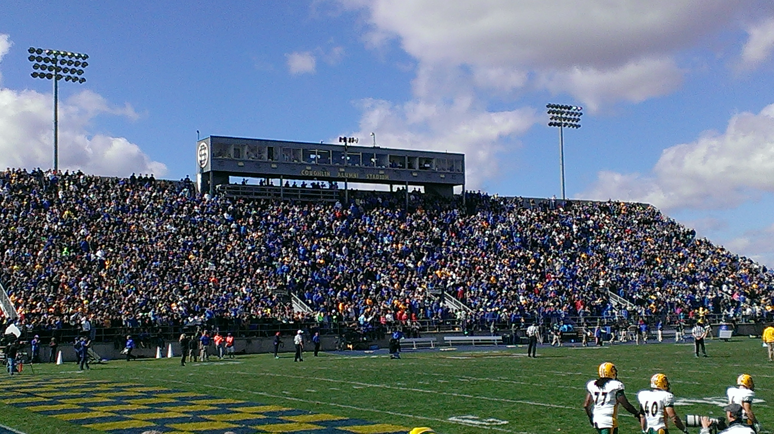 The football field and stadium at South Dakota State University.