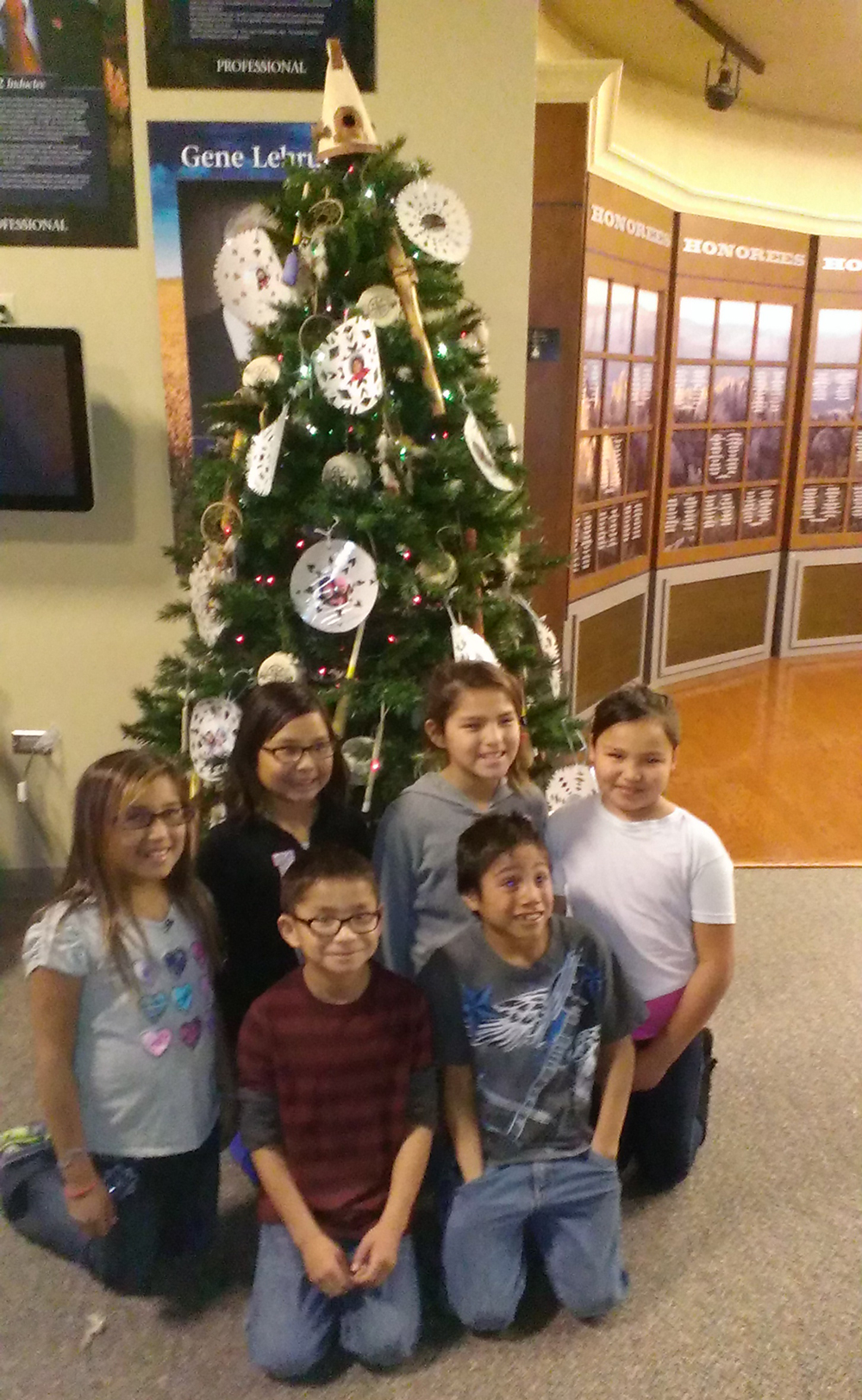 St. Joseph's tree at the South Dakota Hall of Fame was decorated by younger Lakota students.