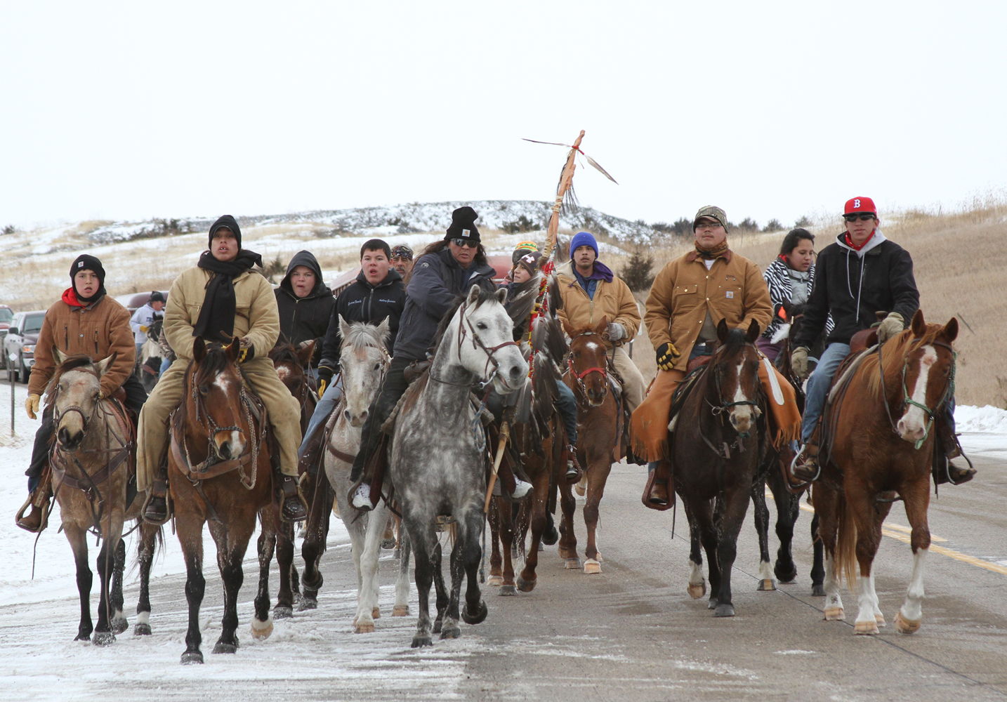 Riders on horseback journeyed from Lower Brule to Mankato, South Dakota for the Dakota 38 Memorial Ride.