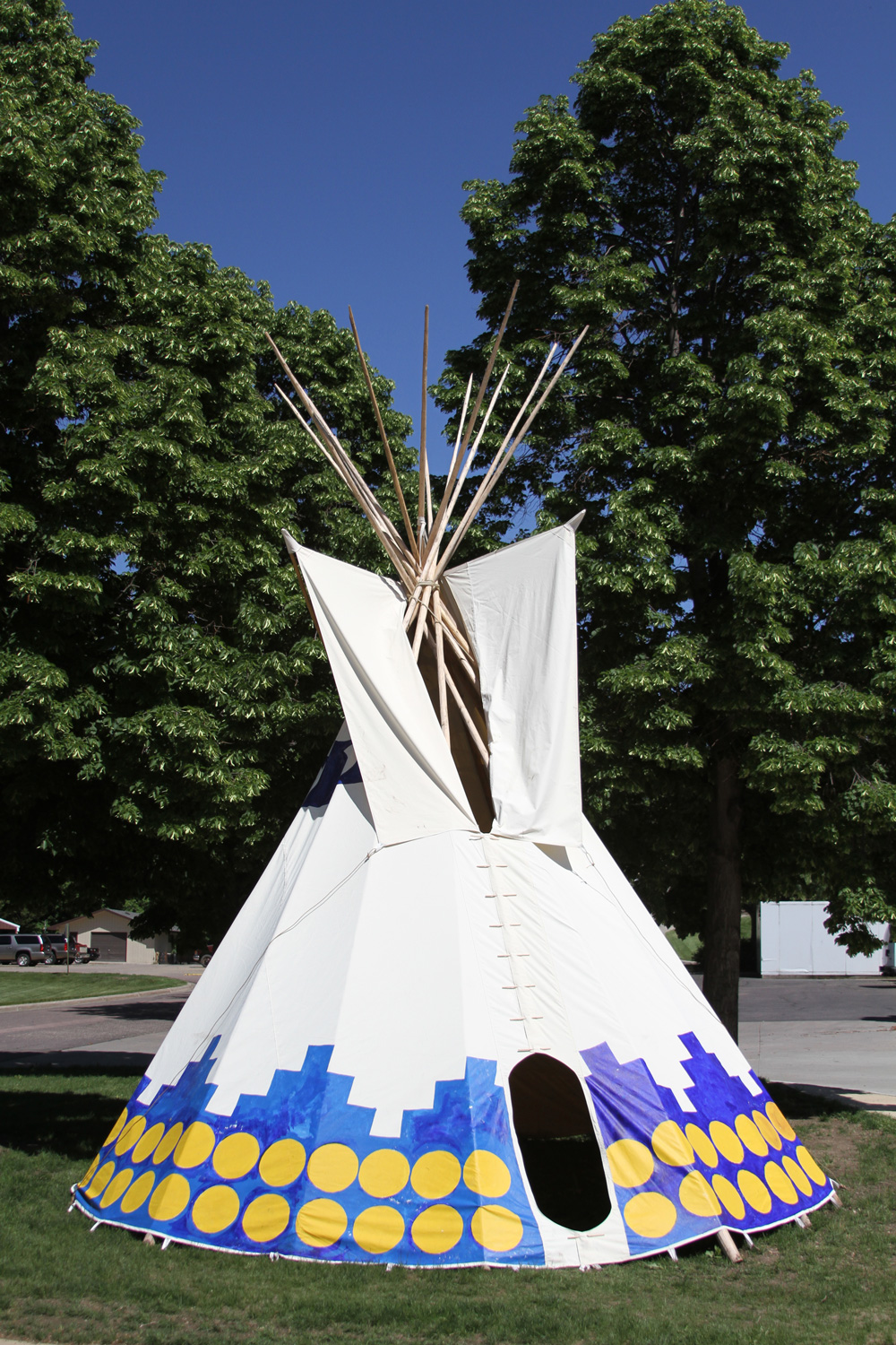A tipi stands outside the entrance of the Akta Lakota Museum & Cultural Center.