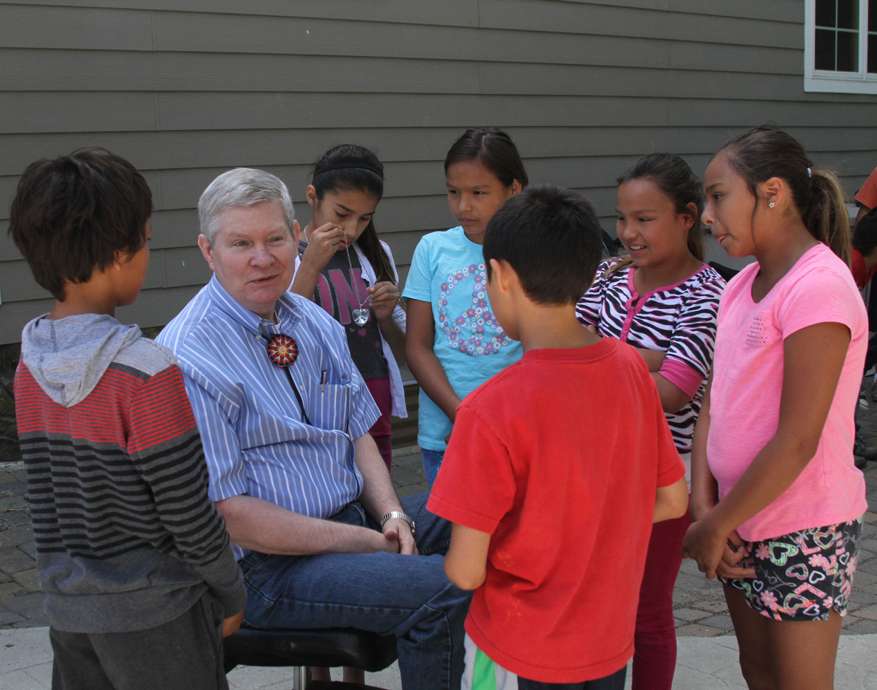 South Dakota Senator Tim Johnson visited the Lakota students at St. Joseph's Indian School.