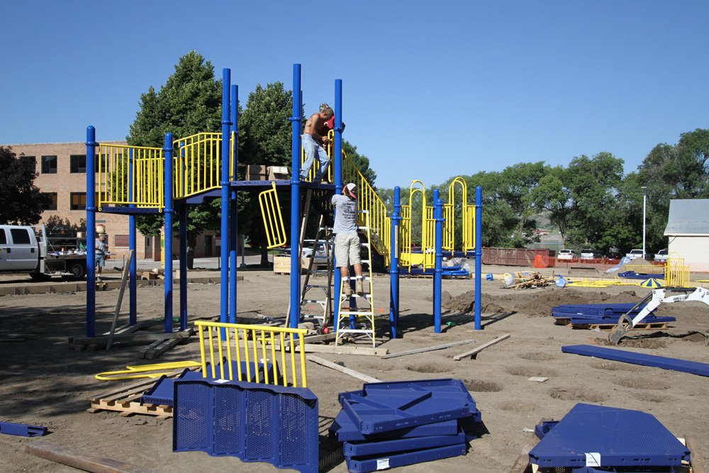 Not finished quite yet, St. Joseph's new playground is under construction.