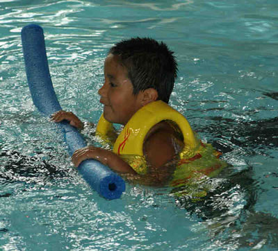 The Lakota students at St. Joseph's take swimming lessons.