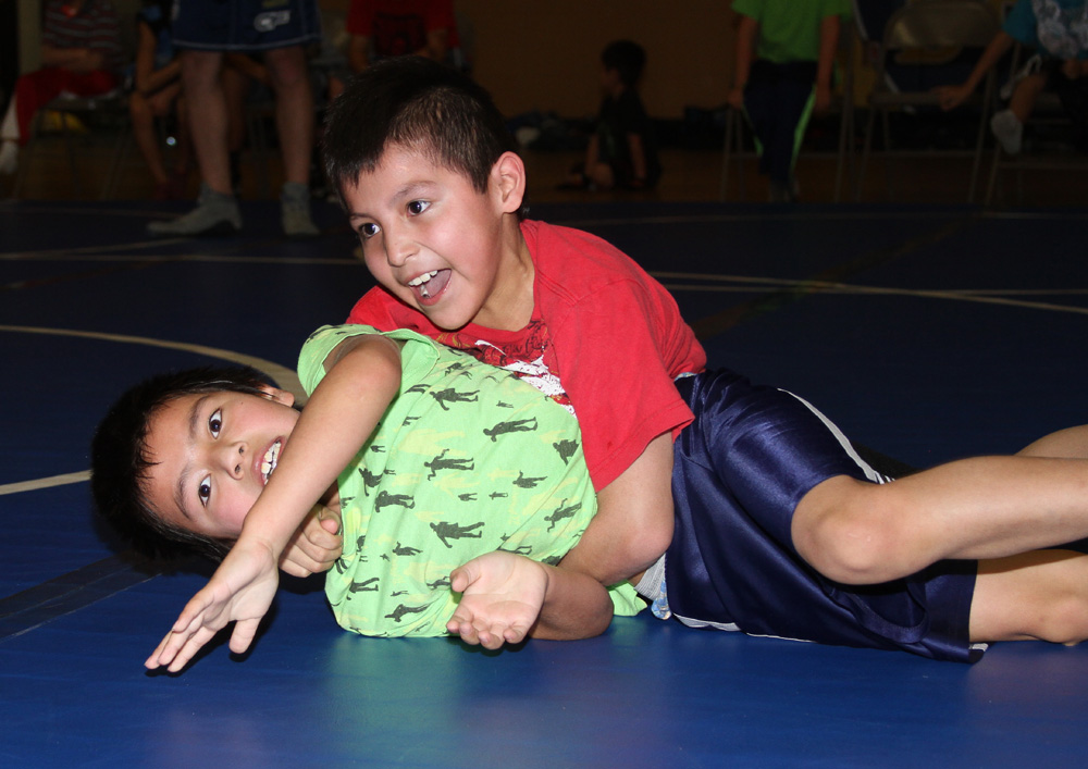 St. Joseph's younger boys are learning to wrestle.