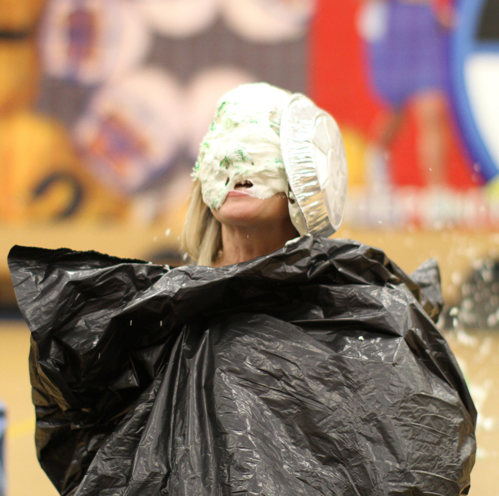 "Julie, our Residential Director for 1st-5th grades, was the ""lucky winner"" of the pie in the face!"