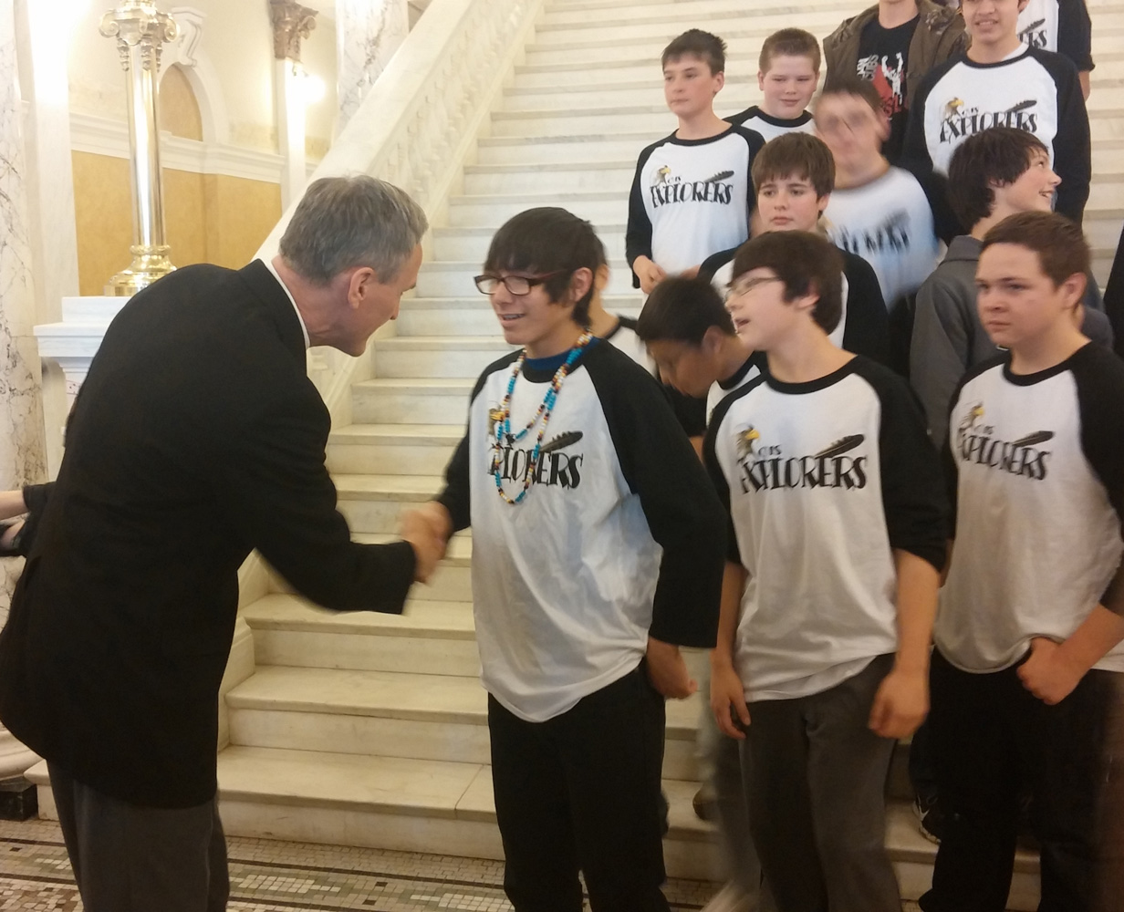 The Explorers met the Governor on their recent trip to Pierre.