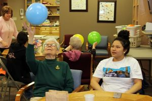 Some of St. Joseph's high school girls brought spring fun to a local assisted living center. The afternoon included an Easter egg hunt, games, prizes and home-baked pumpkin bars.