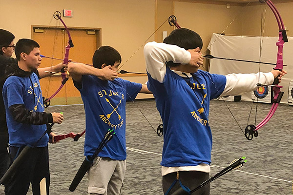 St. Joseph's boys competing at Dakota Oyate Challenge